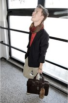 brick red Topman scarf - light brown Deichmann shoes - navy second hand blazer