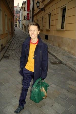 green Zara bag - navy vintage coat - mustard Jeans Club sweater
