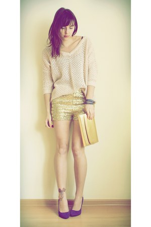 gold H&M shorts - light pink Topshop jumper