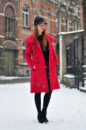 red L&L coat - black Topshop boots - black pompom asos hat - black H&M sweater