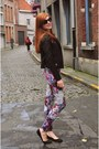 Magenta-floral-print-h-m-leggings-black-leather-new-look-jacket