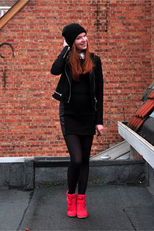 black beanie H&amp;M hat - black H&amp;M dress - black leather new look jacket