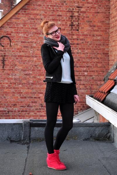 black leather new look jacket - light blue Zara sweater