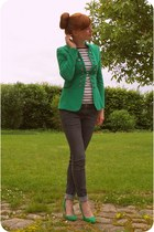 green military jacket - gray H&M jeans - green Zara heels