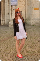 white lace H&M dress - black leather new look jacket - black H&M bag