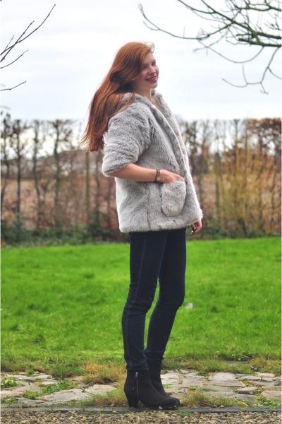 silver faux fur handmade coat - black Topshop boots - navy H&M jeans