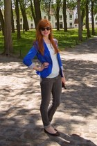 blue Stradivarius blazer - charcoal gray H&M jeans - light blue new look t-shirt
