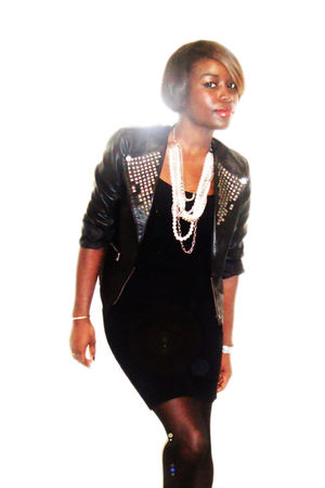 black Forever 21 blazer - black Bedo dress - white Aldo necklace - black America