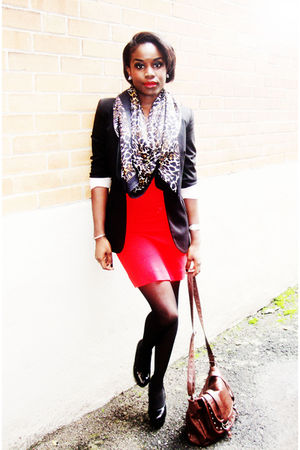 red French Connection dress - black Zara blazer - black H&M scarf - brown Aldo b