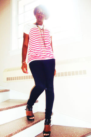 red Zara shirt - blue Zara jeans - black Aldo shoes - black Costa Blanca necklac