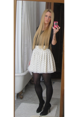 white Forever 21 skirt - black Zara shoes