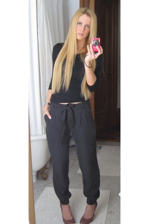 black Forever21 pants - pink Zara shoes - black Kookaii top