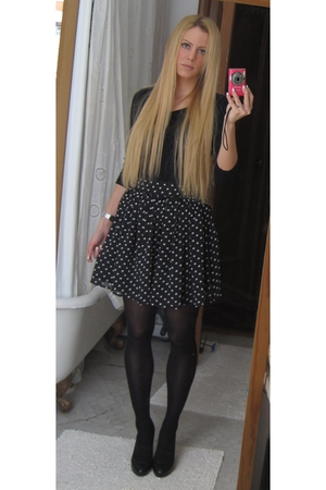 black Zara shoes - black Forever 21 skirt