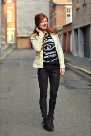navy Jack Daniels t-shirt - black Topshop boots - black glitter H&amp;M jeans
