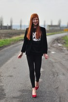 black Boy London sweater - black Zara leggings - black vintage blazer
