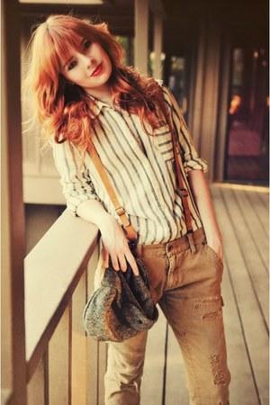 off white shirt - camel pants