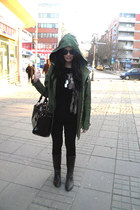 olive green Zara jacket - dark brown Chloe bag
