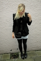 blazer - top - skirt - purse