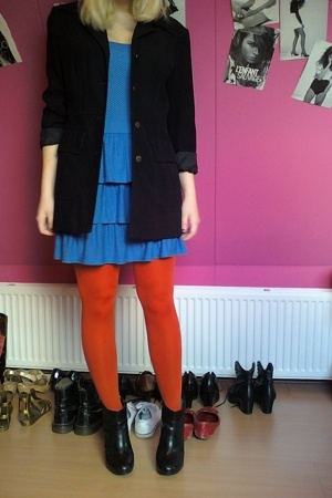 H&M dress - vintage blazer - H&M tights