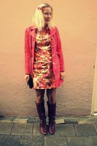 coat - 60s vintage dress - vintage boots - vintage purse