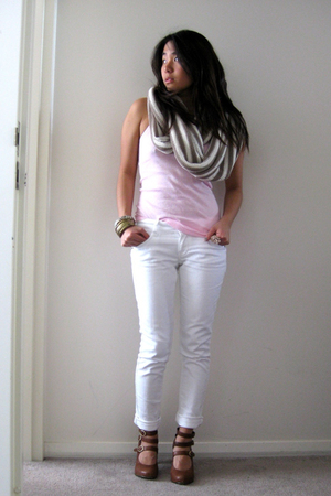 bonds top - Topshop jeans - Witchery scarf - Mollini shoes - bangles accessories