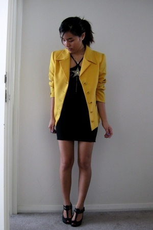 vintage blazer - Vintage Escada top - aa skirt - Topshop shoes