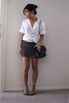 vintage shirt - Minty Meets Munt skirt - Nine West shoes - vintage chanel purse