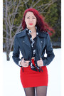 Black-ebay-boots-black-suzy-shier-jacket-red-forever-21-skirt