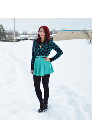 black Call it Spring boots - navy Joe Fresh sweater - aquamarine Ebay skirt