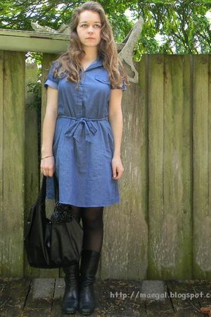blue Walmart dress - black St Johns Bay boots - black Walmart purse - black Walm