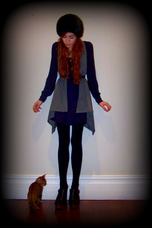 blue vintage dress - gray vest - black tights - black Jeffrey Campbell shoes - b