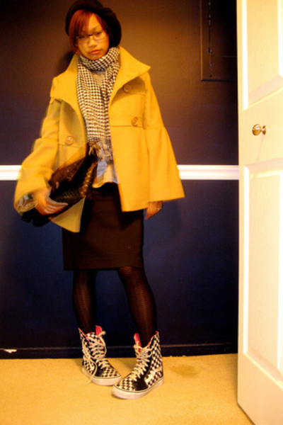 Via coat - Express skirt - Target tights - Vans shoes - vintage scarf - vintage