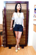 gray redopin shirt - blue denim Target shorts - yellow platform Zara sandals