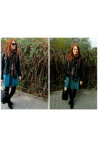 forest green Zara skirt - black Bershka boots - black pull&bear jacket