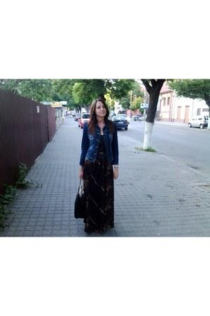 dark brown vintage dress - navy Bershka jacket - black Zara bag