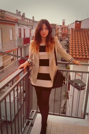 black Primadonna flats - striped pull&bear dress - beige silvian heach blazer