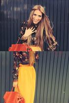 mustard yellow River Island skirt - ps1 PROENZA SCHOULER bag