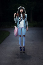 flower head wreath hat - River Island jacket - QooQoo leggings - cyber dog bag
