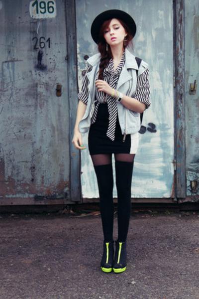 new look skirt - River Island hat - River Island vest - H&M wedges