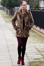 leopard print F&F coat - midi new look dress - Expose hat