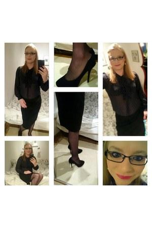 navy H&M blouse - black H&M stockings - black Ellos skirt - black heels
