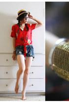 brick red kimchi and blue shirt - tan straw hat no brand hat