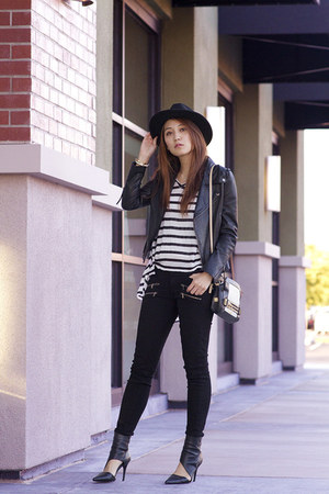 black Paige Denim jeans - black wool fedora brixton hat