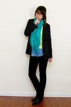 black skinny jeans Express jeans - navy Forever 21 blazer - blue H&M shirt