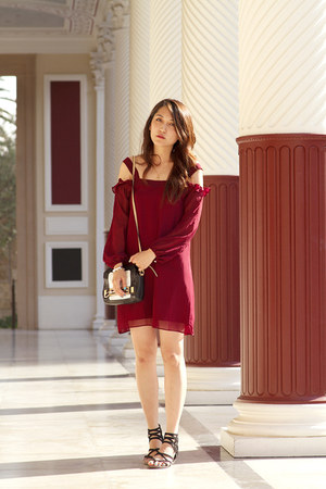 maroon chiffon Voom by Joy Han dress - black leather botkier bag