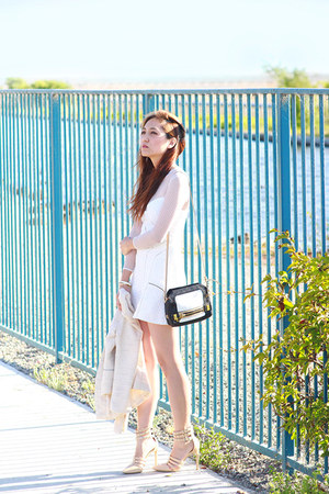 black leather botkier bag - white Self-Portrait dress