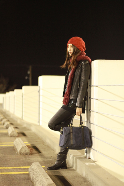 black coated cotton on jeans - ruby red beanie Forever 21 hat