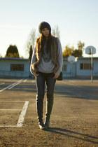 black stuart weitzman boots - blue jeggings American Eagle jeans