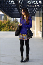 blue H&M sweater - black Ebay boots - yellow Target dress - black H&M bag