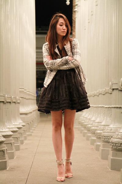 white cotton on blazer - black Marc Jacobs blouse - black Betsey Johnson skirt
